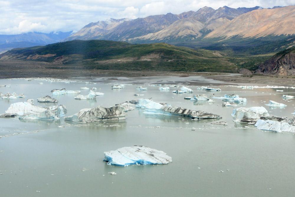 Eisberge treiben am Rand des Gletschers im Kluane Nationalpark im Yukon Kanada
