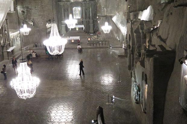 Die größte Halle im Bergwerk - fast komplett aus Salz