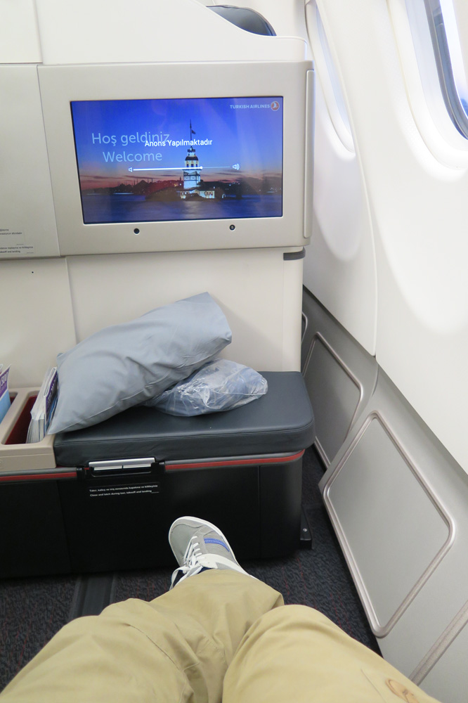 Beinfreiheit satt gibt es in der Business-Class von Turkish Airlines