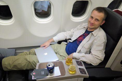 Auf einem Sitz in der Turkish Airlines Business Classlässt es sich aushalten