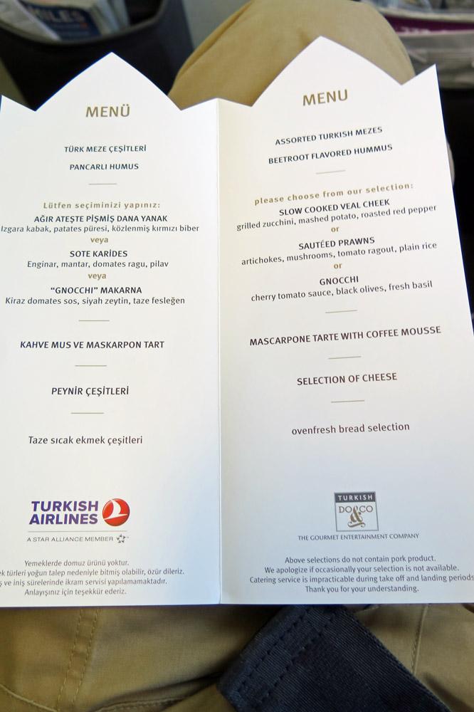 Bei der Menükarte fällt eine Entscheidung schwer was man in der Business Class bei Turkish Airlines essen soll