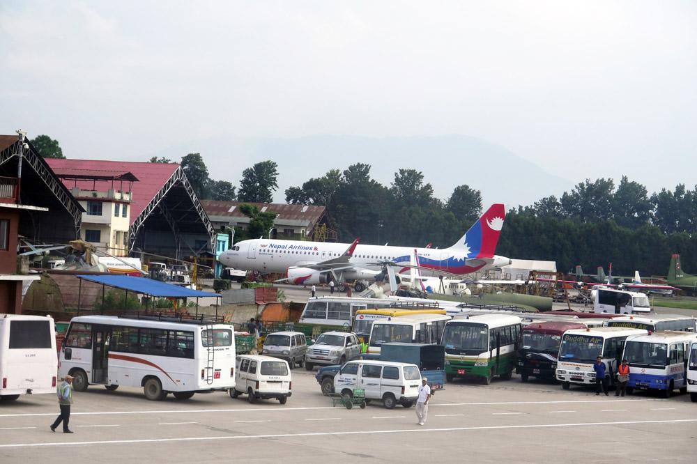Erster Blick auf den Flughafen von Kathmandu