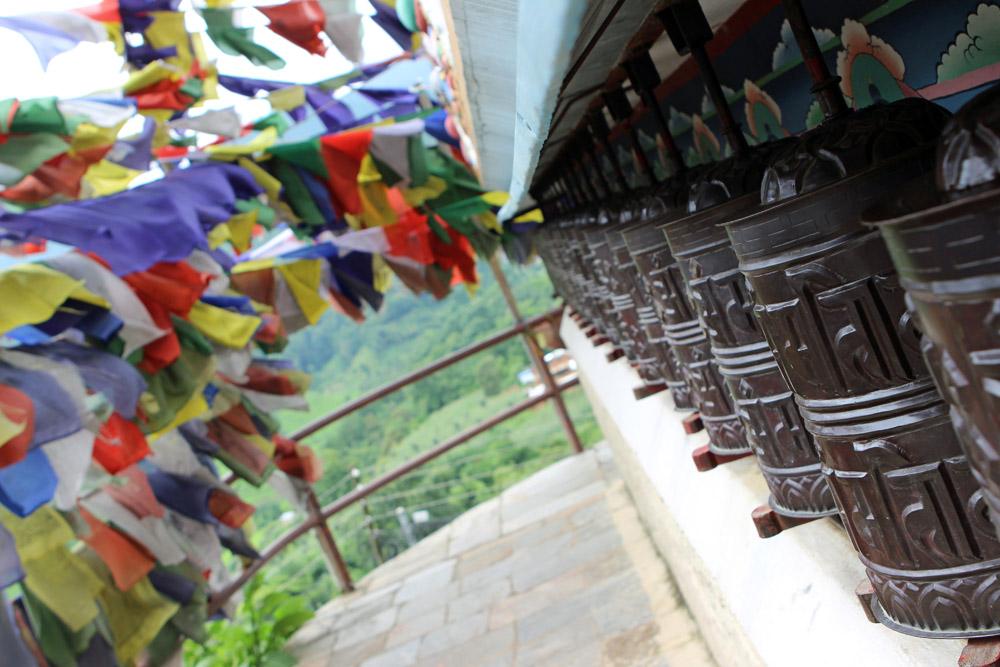Auch Tibetische Gebetsmühlen waren im buddhistischen Kloster bei Kathmandu in Nepal vorhanden