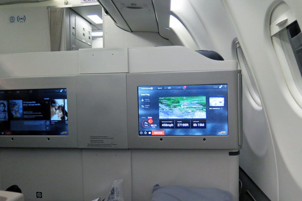 Die Monitore sind in der Business-Class von Turkish Airlines schön groß