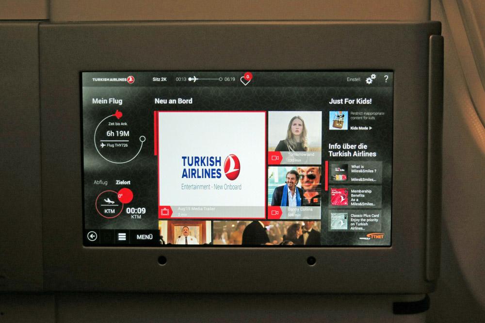 Das Unterhaltungsprogramm bei Turkish Airlines ist umfassend