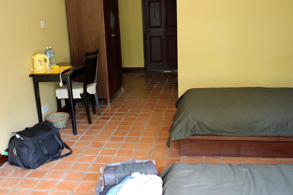 Die Zimmer bei der Übernachtung im Kloster der buddhistischen Mönche bei Nepal in Kathmandu waren einfach, aber gut