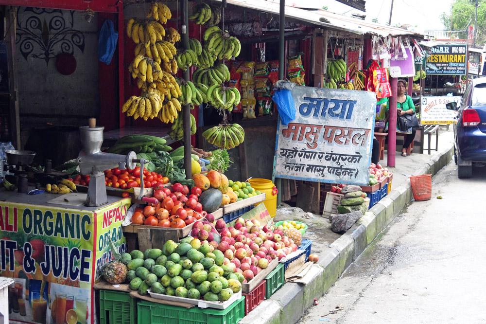 Obst wächst in Nepal reichlich. Man kann es überall kaufen und essen
