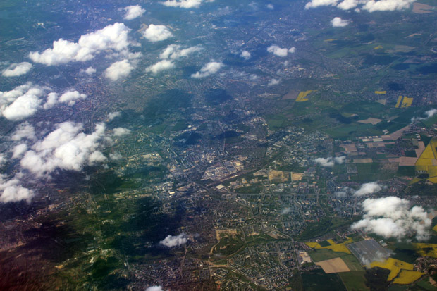 Auch zurück im deutschen Luftraum gab es viel zu sehen. Hier eine Ansicht von Ost-Berlin