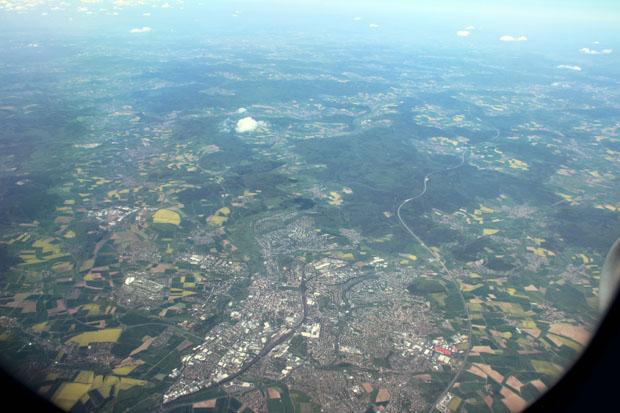 Über Wiesbaden begann der Endanflug auf Frankfurt