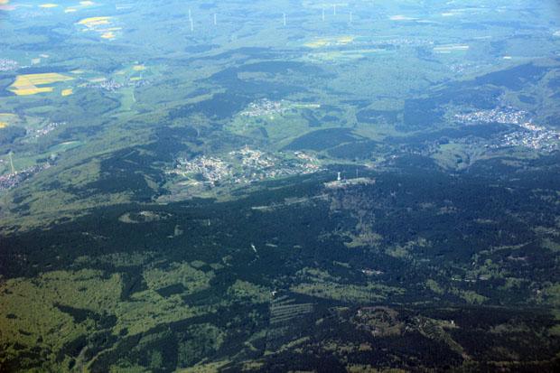 Auch den markanten Gipfel des Großen Feldbergs im Taunus konnte ich erspähen