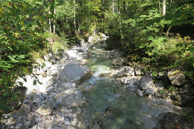 Der Auerbach ergießt sich in den tösenden Tatzelwurm-Wasserfall