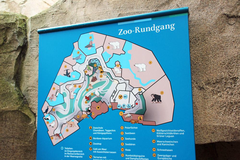 Karte mit Plan für einen Besuch im Zoo am Meer in Bremerhaven