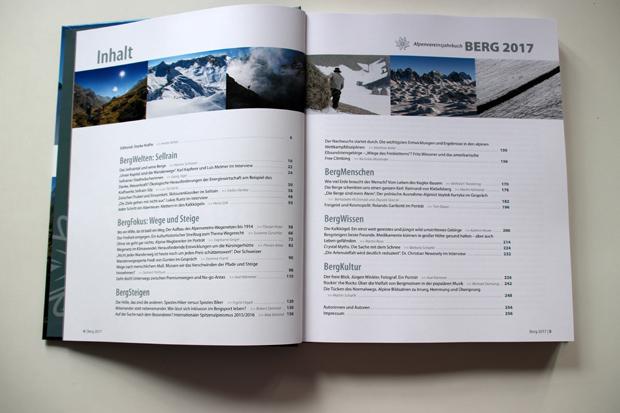 Ein prall gefülltes Inhaltsverzeichnis bietet das Alpenvereinsjahrbuch Berg 2017