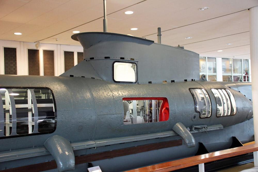 Ein kleines U-Boot aus dem Zweiten Weltkrieg im Deutschen Schifffahrtsmuseum Bremerhaven