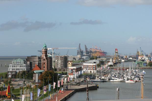 Vom Dach des Klimahauses hat man einen tollen Blick auf Bremerhaven