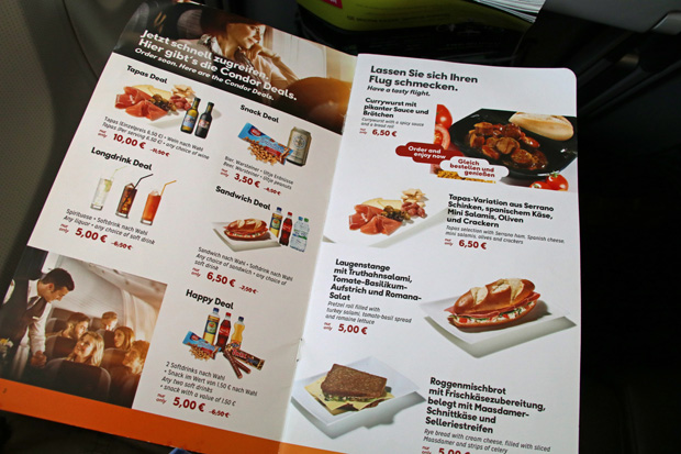 Die Preise für Essen und Getränke sind bei Condor angemessen