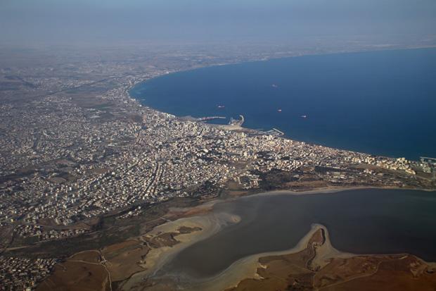 Kurz vor der Landung in Larnaca