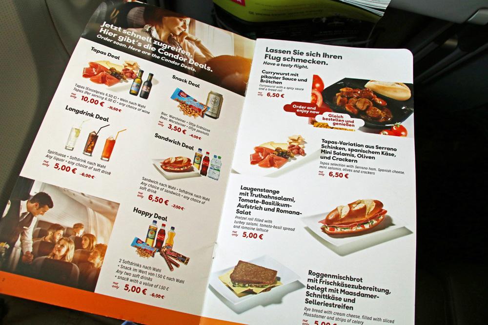 Die Preise für Essen und Getränke im Flugzeug bei Condor sind angemessen