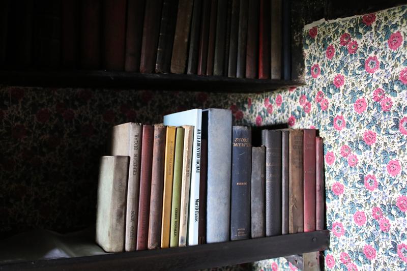 Alte Bücher stehen in den Schränken