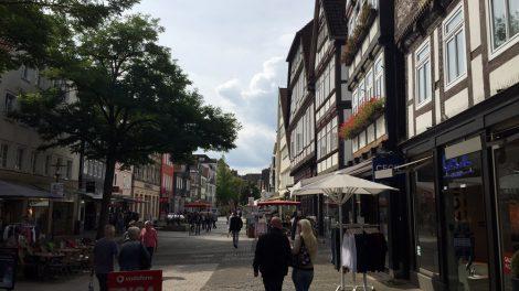 Auch in der Fußgängerzone in Detmold ist überall Fachwerk zu finden