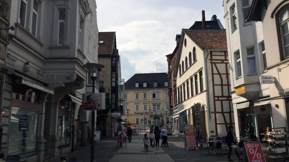 Blick durch die Fußgängerzone in Detmold