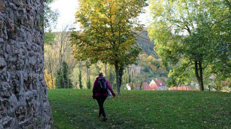 Am Ziel der Etappe auf dem Lutherweg an der Creuzburg