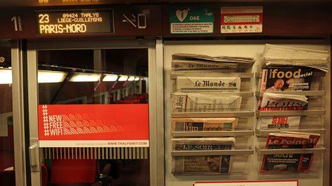 Leider gab es bei meiner Fahrt keine deutschen Zeitungen im Thalys