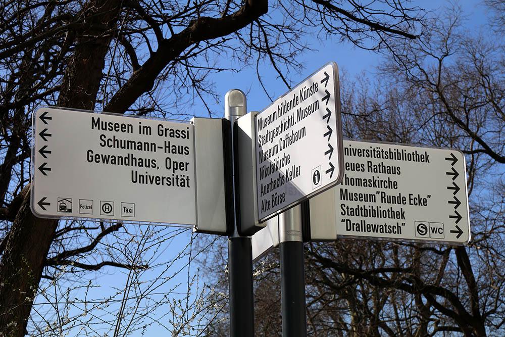 Wegweiser zu den Sehenswürdigkeiten in Leipzig