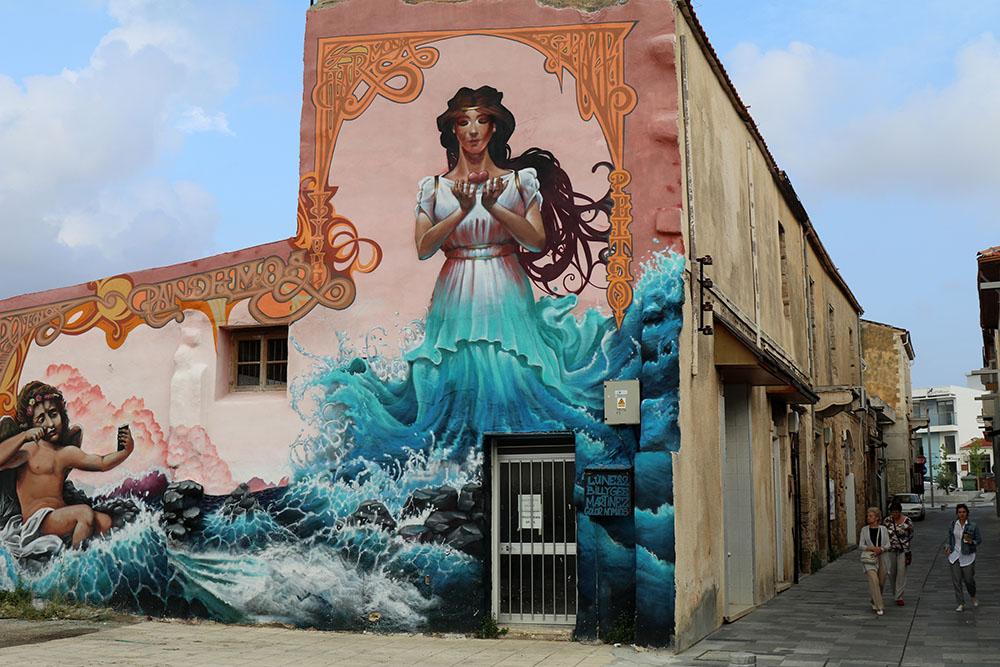 Streetart mit der Aphrodite in Paphos auf Zypern