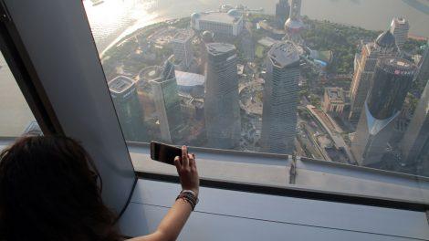 Aussicht vom Shanghai Tower dem größten Hochhaus in China