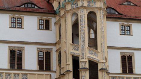 Der sogenannte Wendelstein von Schloss Hartenfels in Torgau ist auch im Dornröschen Film zu sehen