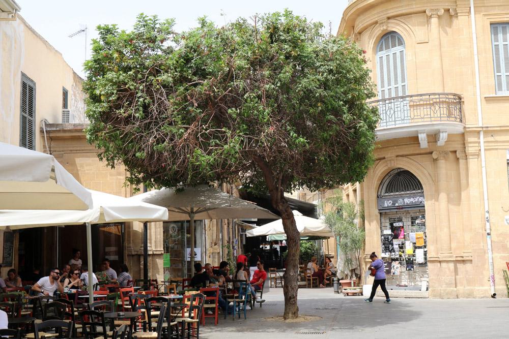 In einem der Straßencafés in Nikosia auf Zypern zu sitzen lässt Urlaubsgefühle aufkommen