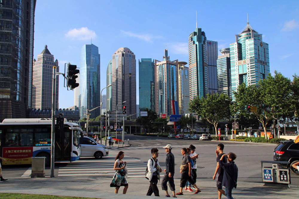 Auch viele kleinere Hochhäuser befinden sich in unmittelbarer Nachbarschaft zum Shanghai Tower.