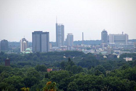 Blick auf die Skyline vom Stadtzentrum von Essen