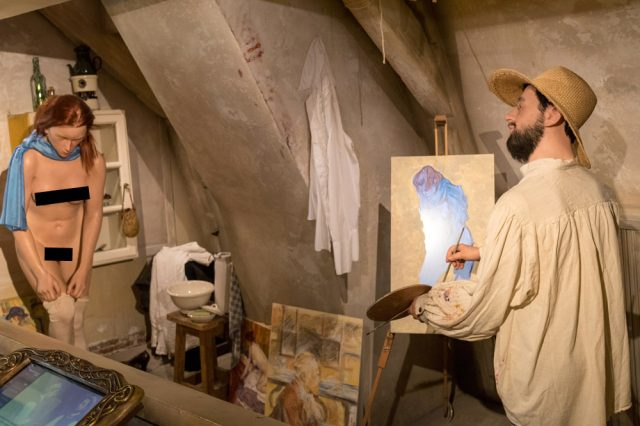 Der Maler Henri de Toulouse-Lautrec portraitiert im Sexmuseum Amsterdam ein Aktmodell