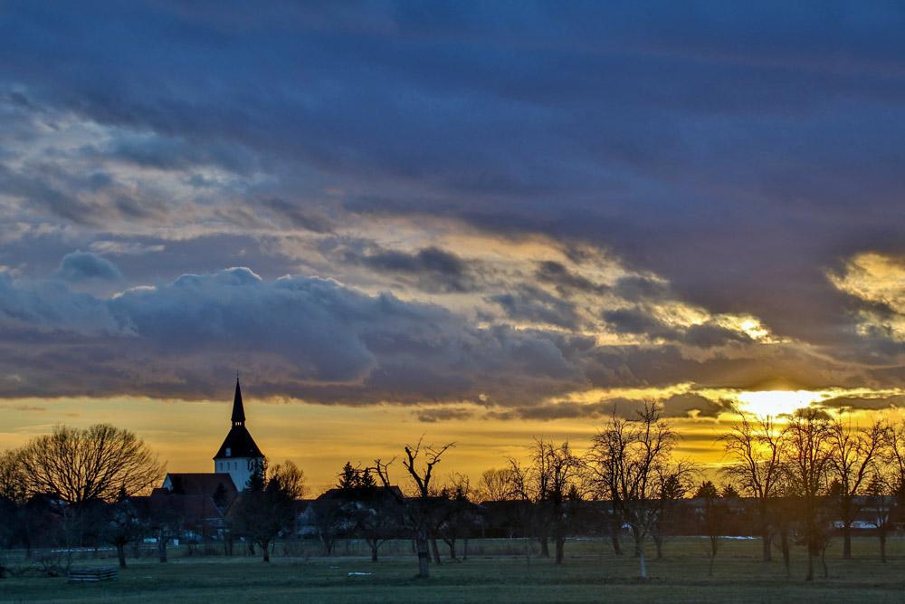 Sonnenuntergang in Hohenleipisch in Brandenburg
