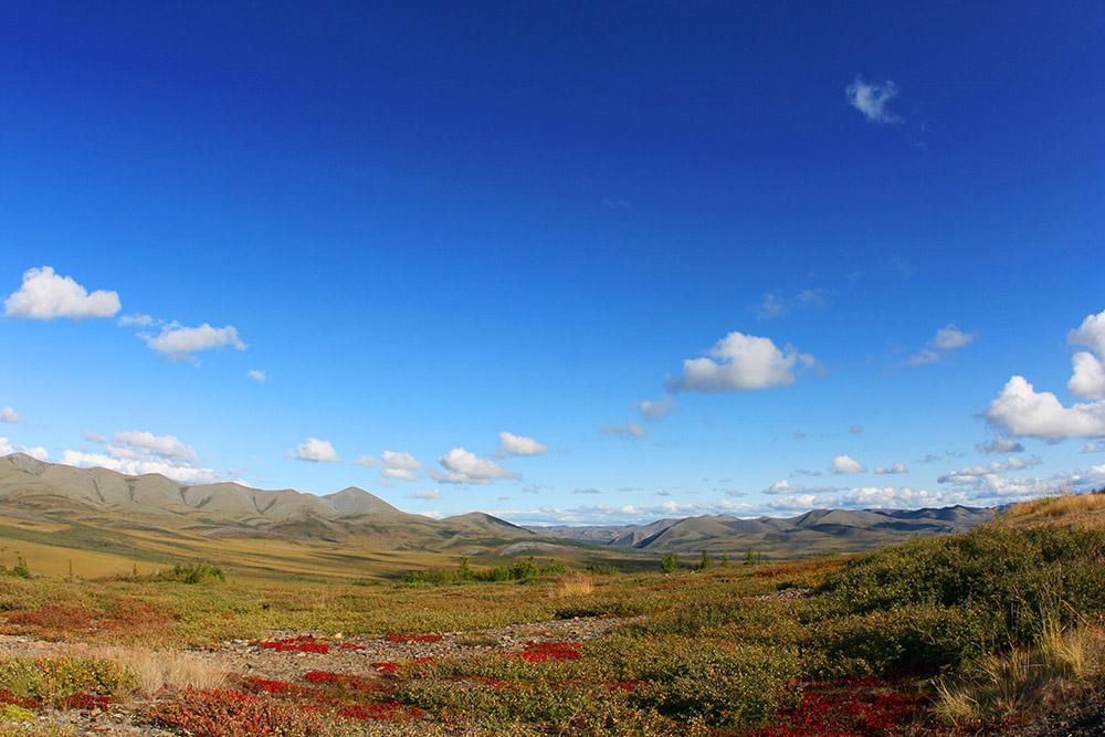Der Dempster Highway überquert den Polarkreis im Yukon in Kanada