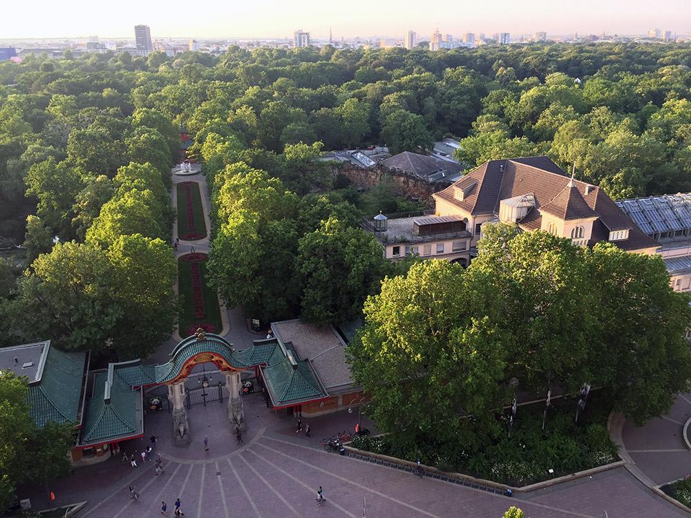 Luftaufnahme vom Zoo Berlin mit dem Haupteingang und dem Aquarium aufgenommen von der Pan Am Lounge