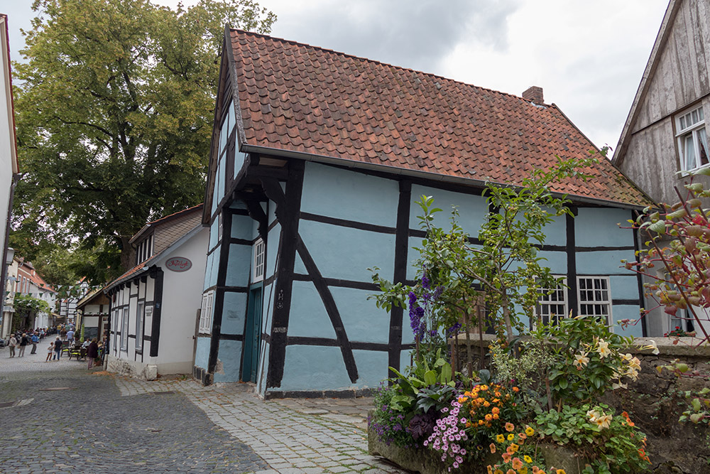 Schiefes Fachwerkhaus in der Altstadt von Tecklenburg