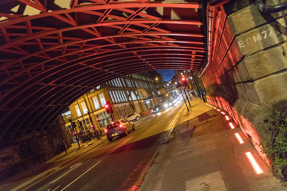 Brücke in Newcastle bei Nacht