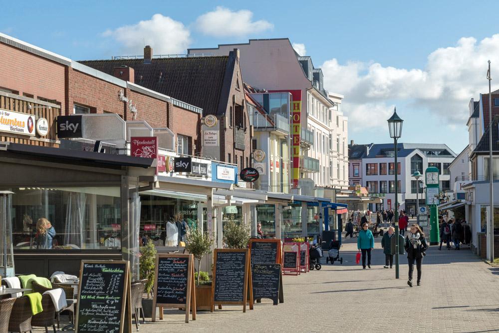 Im Zentrum von Borkum gibt es vor allem viele Restaurants und Souvenirshops.
