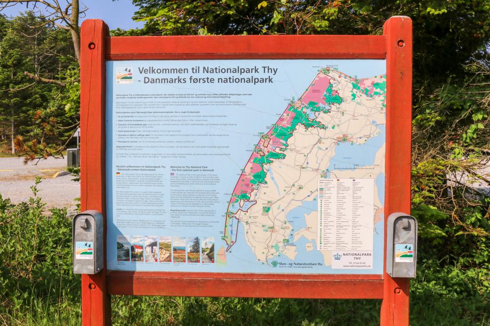 Eine Karte des Nationalparks Thy in Dänemark