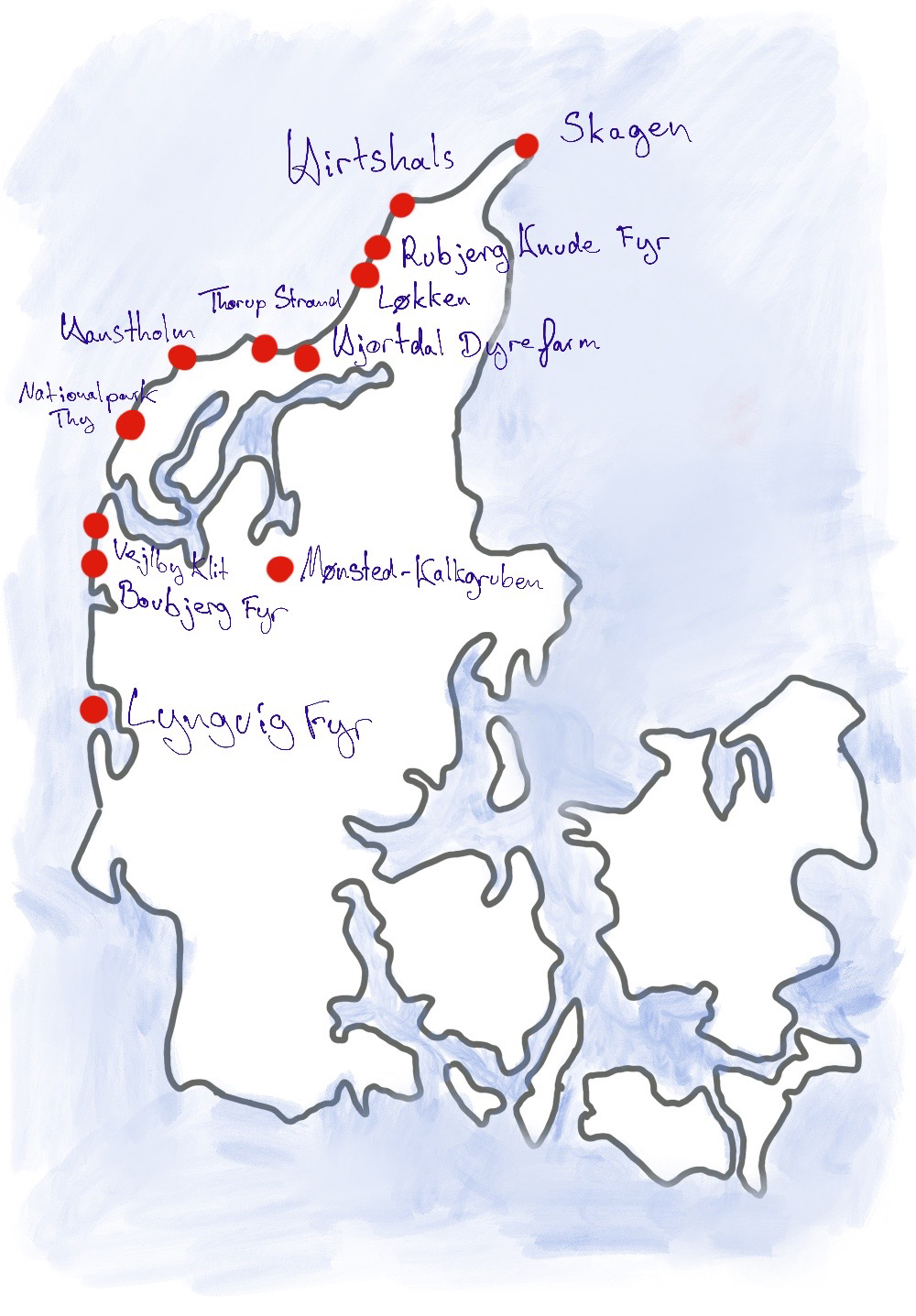 Karte des Roatrips an der Nordsee in Dänemark