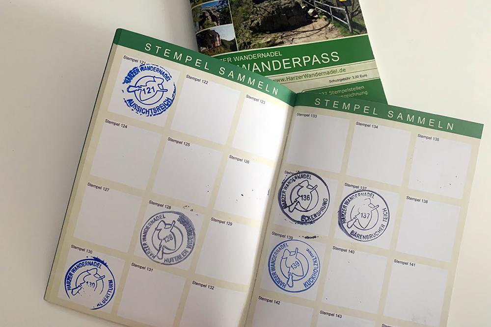 Stempel im Wanderpass der Harzer Wandernadel