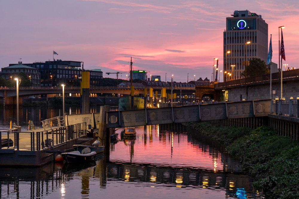 Sonnenuntergang Weser Bremen