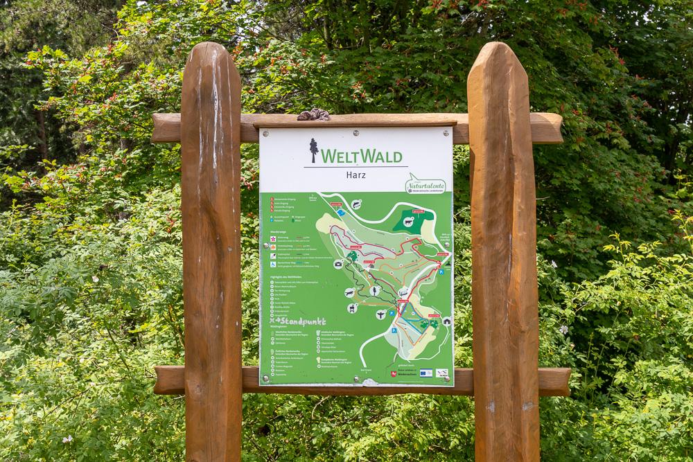 Harzer Wandernadel Stempelstelle WeltWald Bad Grund HWN 129 Karte