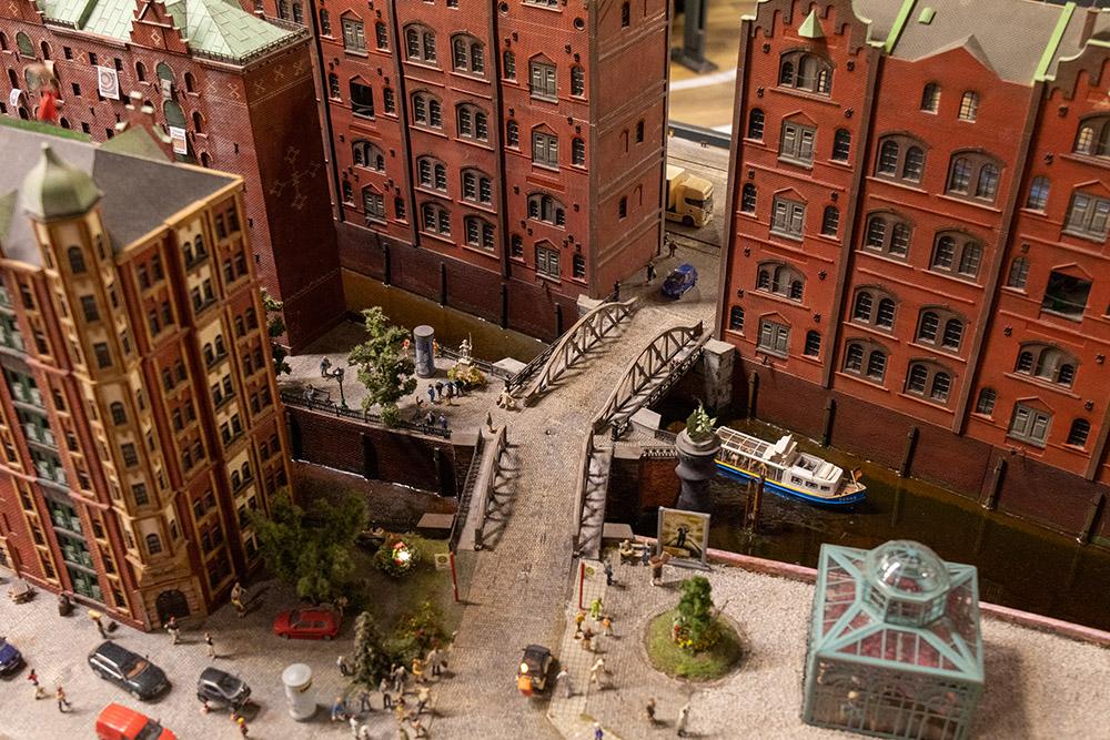 Modell der Speicherstadt im Miniatur Wunderland Hamburg im Maßstab 1:87 bzw H0